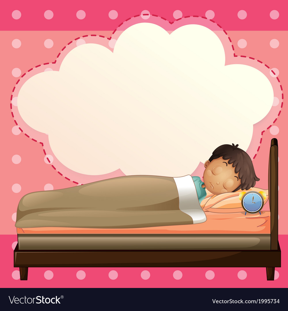 A boy sleeping with an empty callout template vector | Price: 1 Credit (USD $1)