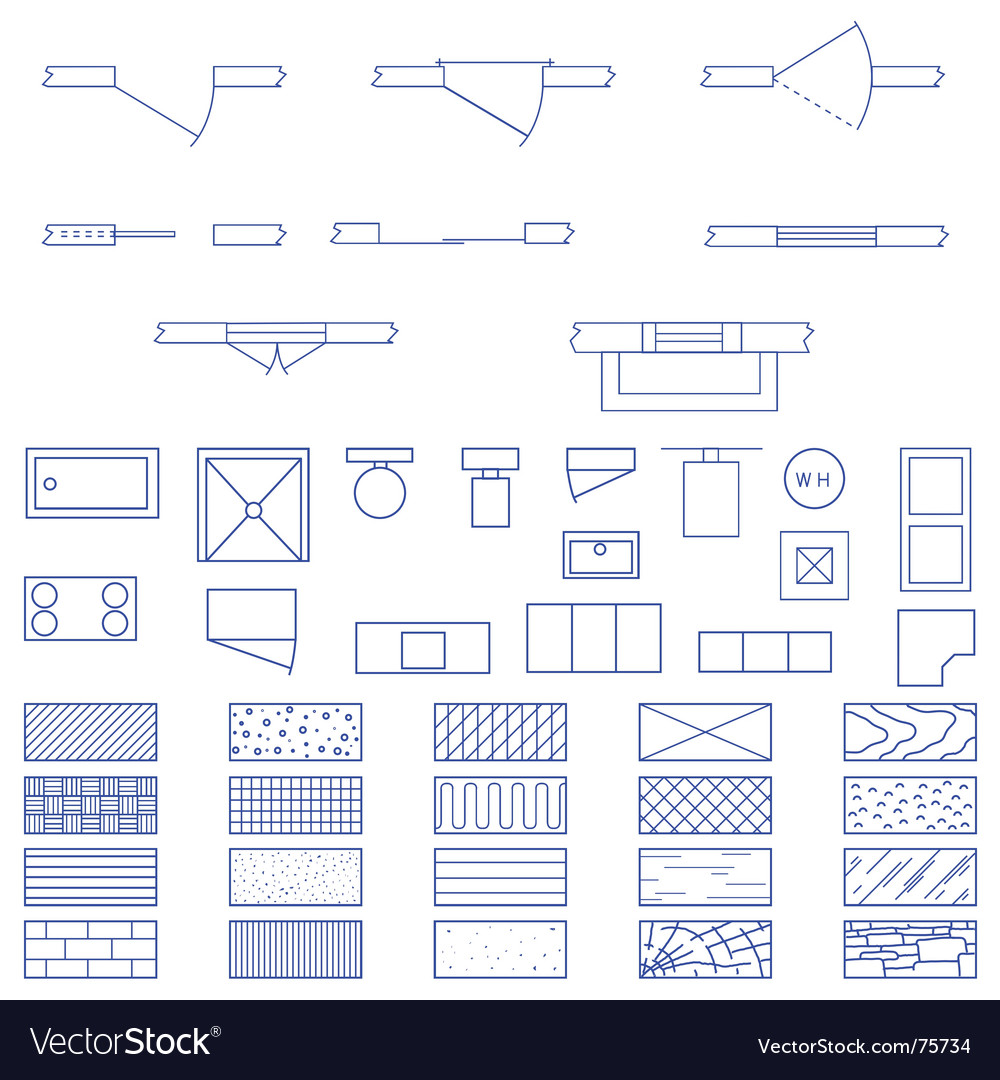 Architecture blueprint symbols vector | Price: 1 Credit (USD $1)