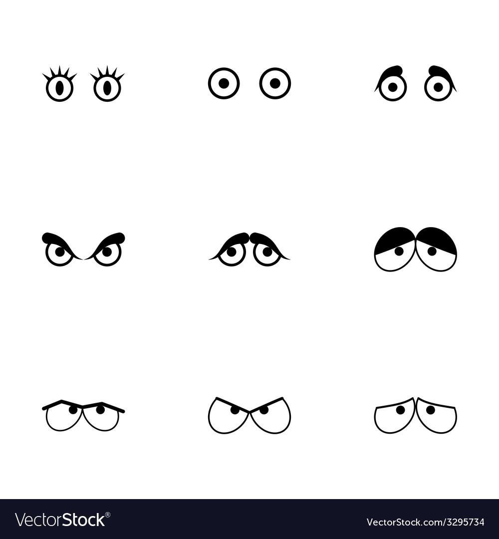 Black cartoon eyes icons set vector | Price: 1 Credit (USD $1)