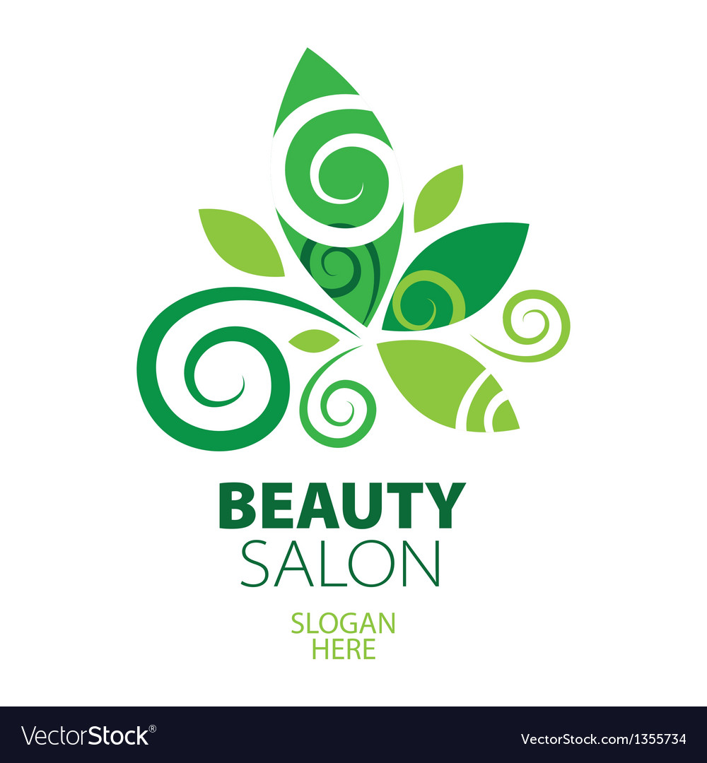 Composition of green leaf logo for beauty salon vector | Price: 1 Credit (USD $1)
