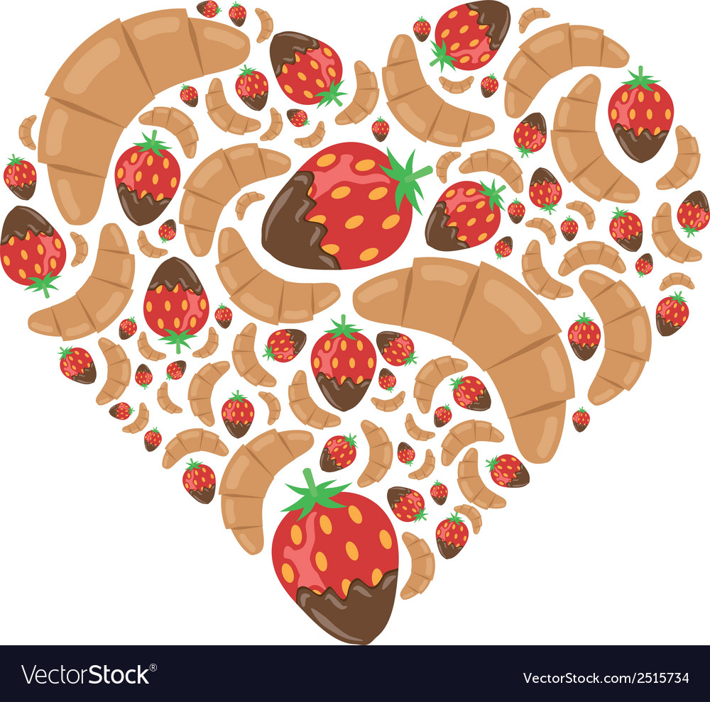 Croissant and strawberry in chocolate in heart vector | Price: 1 Credit (USD $1)
