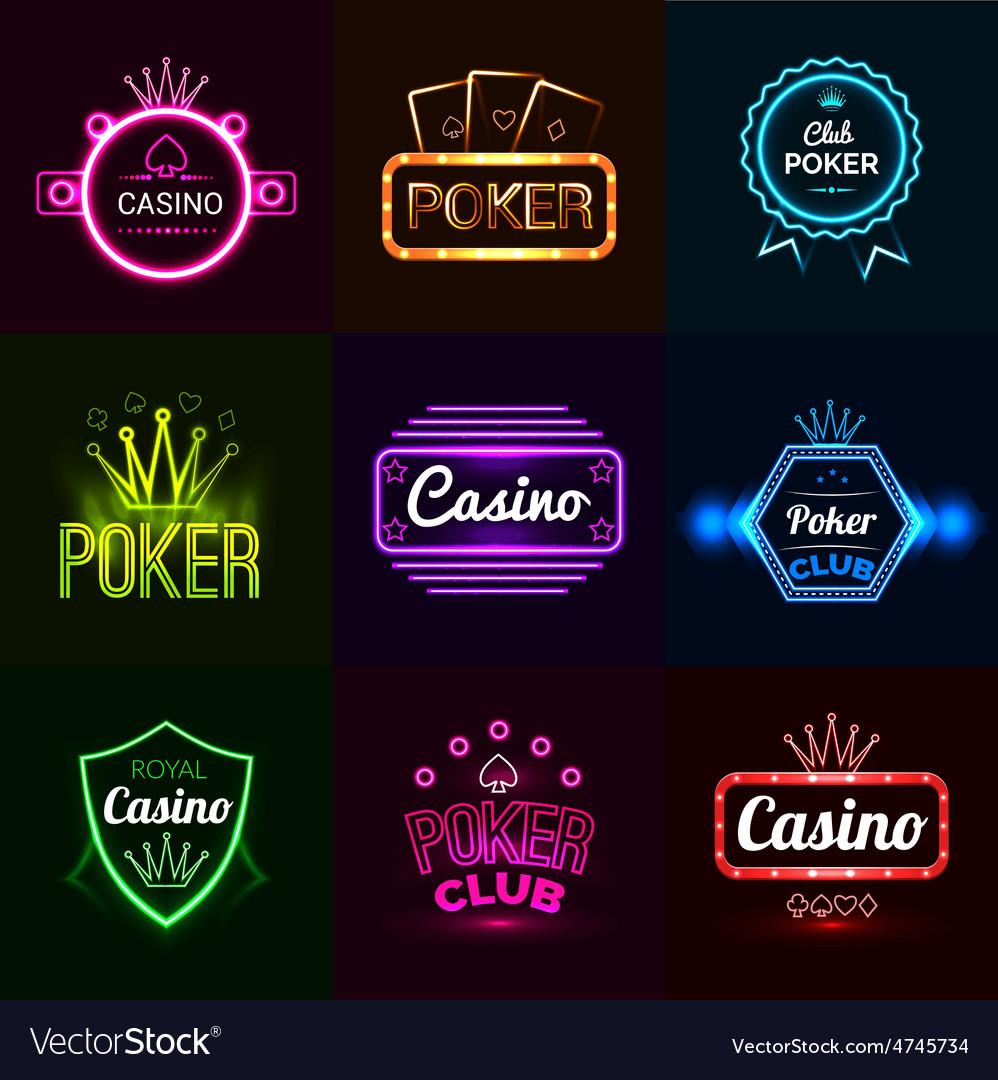 Neon casino emblems vector   Price: 1 Credit (USD $1)