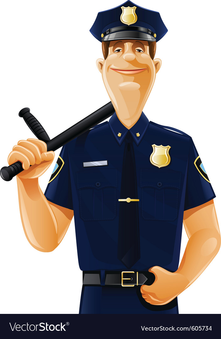 Policeman with truncheon vector | Price: 3 Credit (USD $3)