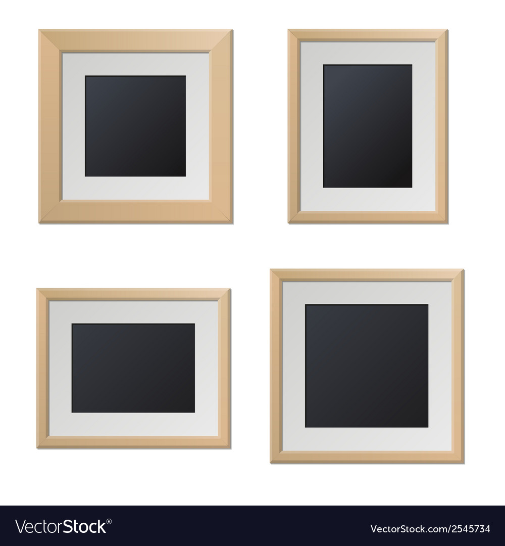 Realistic wood picture frames with blank center vector | Price: 1 Credit (USD $1)