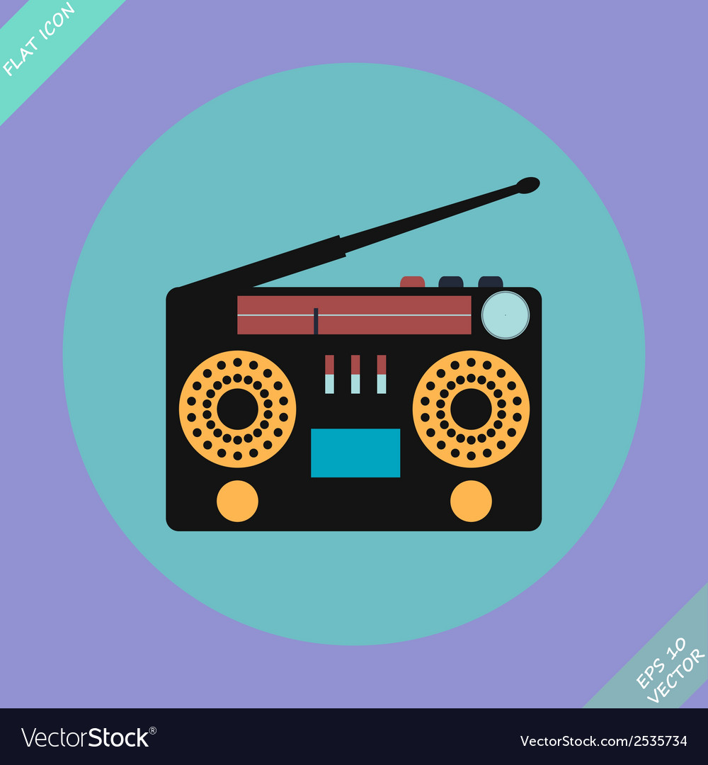 Retro stereo radio cassette recorder vector | Price: 1 Credit (USD $1)