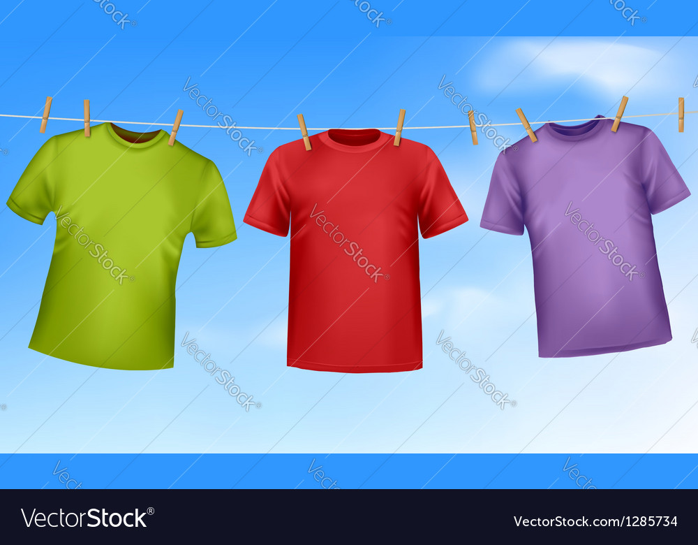 Set of colored t-shirts hanging on a clothesline vector | Price: 1 Credit (USD $1)