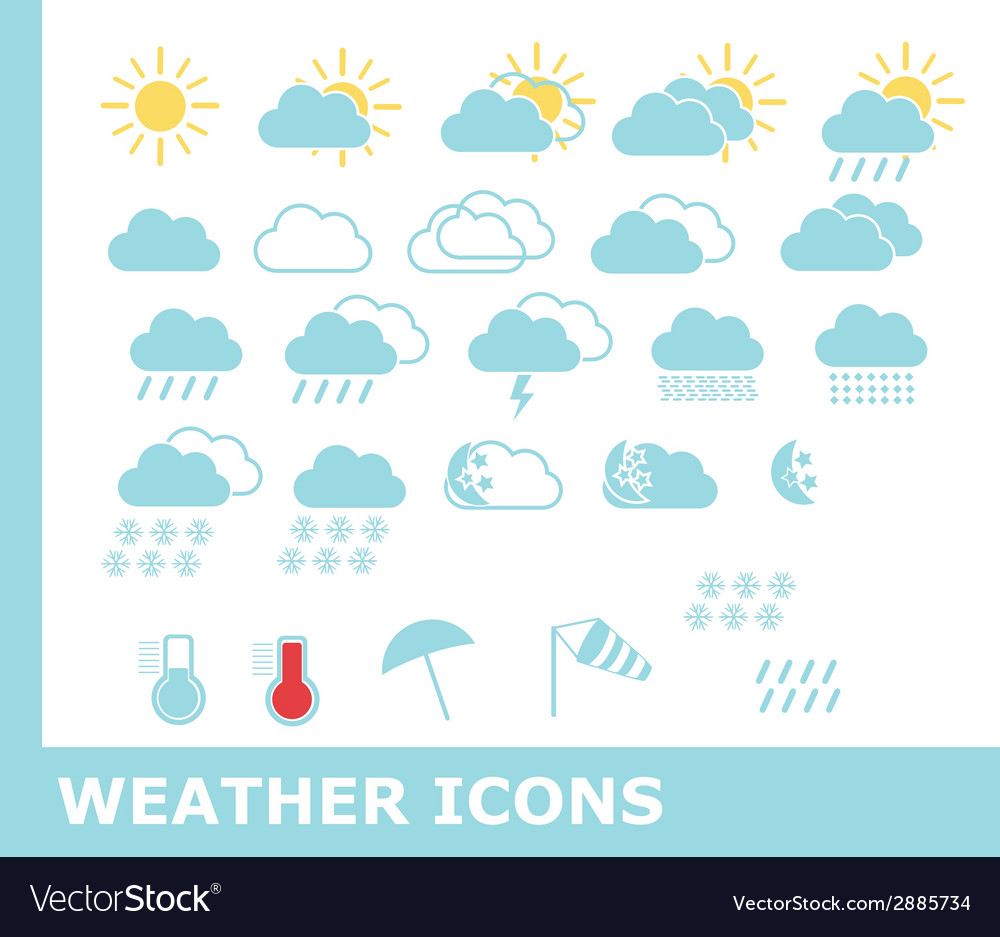 Set of weather icons for web and mobile vector | Price: 1 Credit (USD $1)