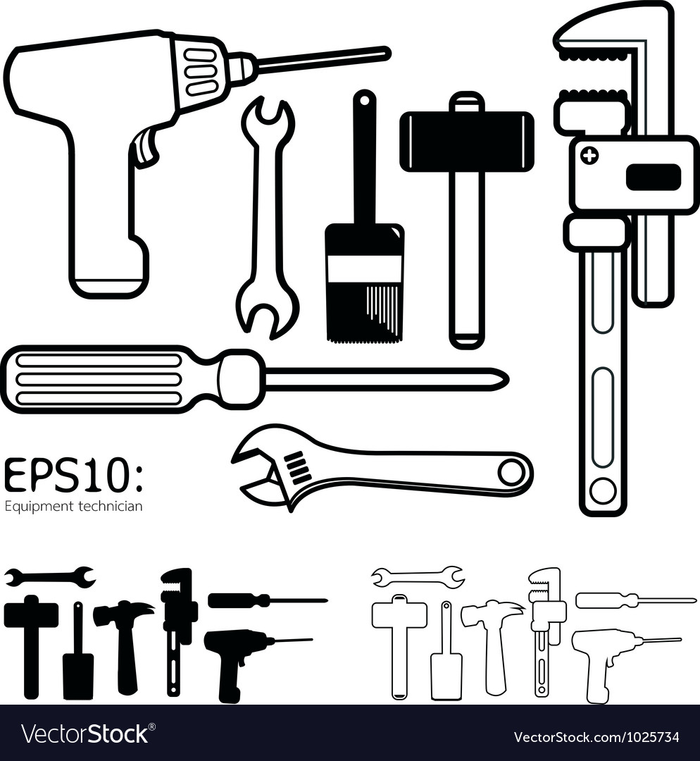 Tools icon set white background vector | Price: 1 Credit (USD $1)