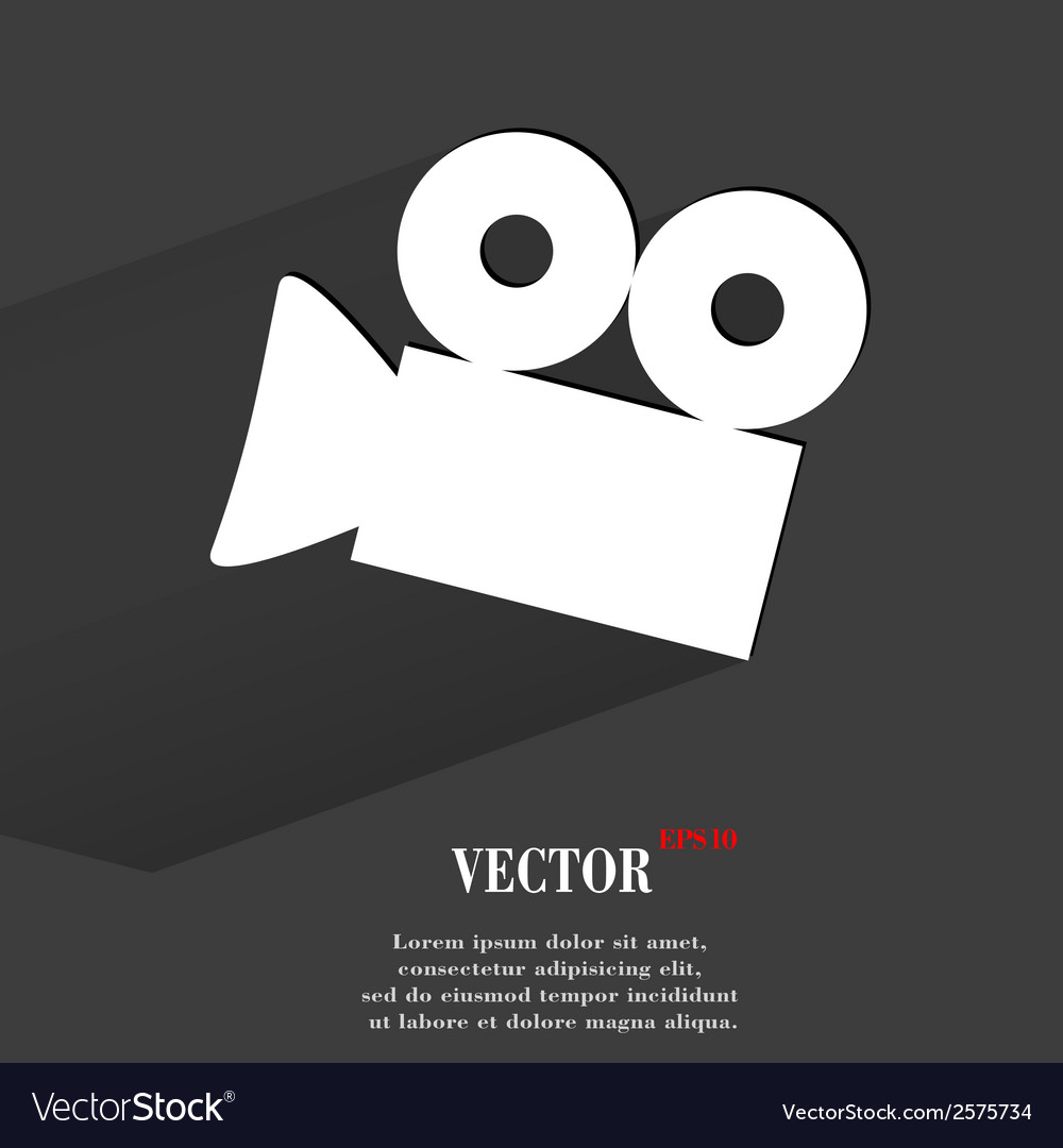 Video-camera flat modern web button with long vector | Price: 1 Credit (USD $1)