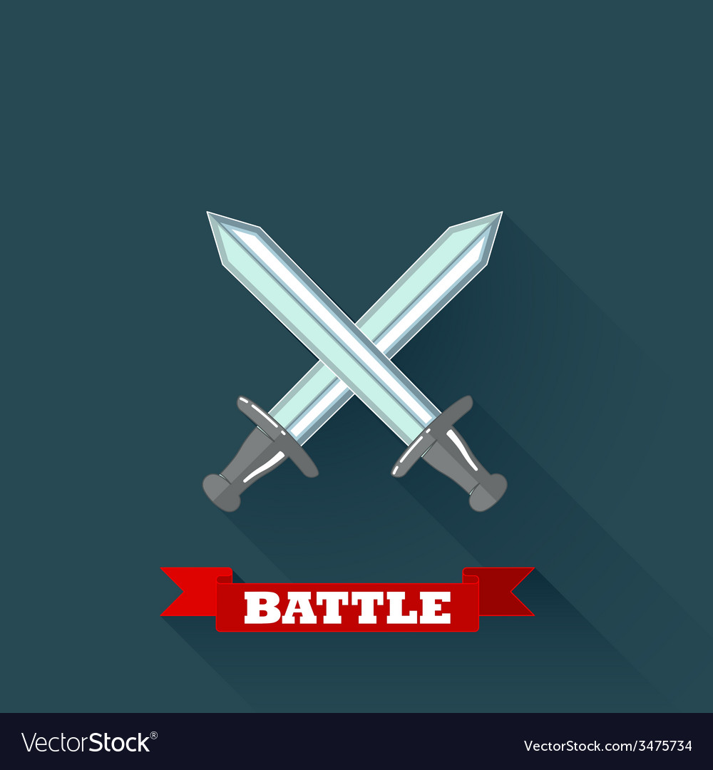 With crossing swords in flat design with long vector | Price: 1 Credit (USD $1)