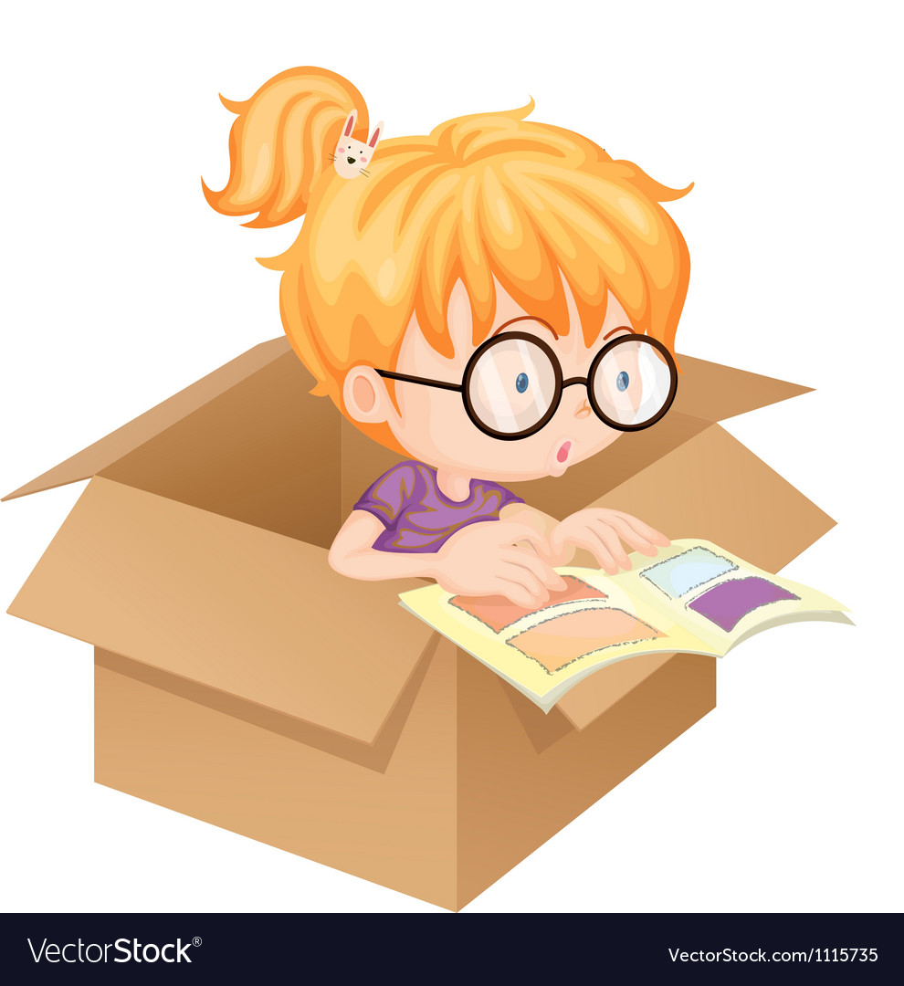 A girl reading book in a box vector | Price: 1 Credit (USD $1)
