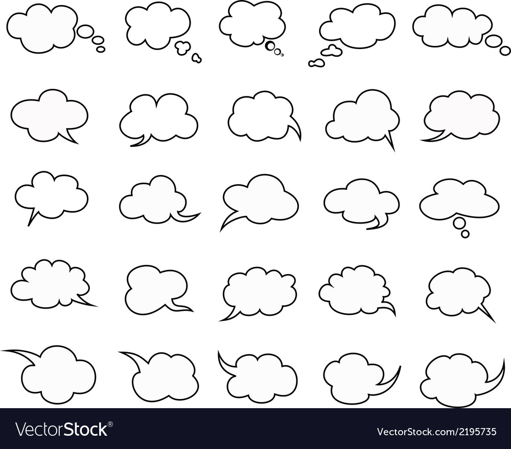 Clouds speak bubbles vector | Price: 1 Credit (USD $1)