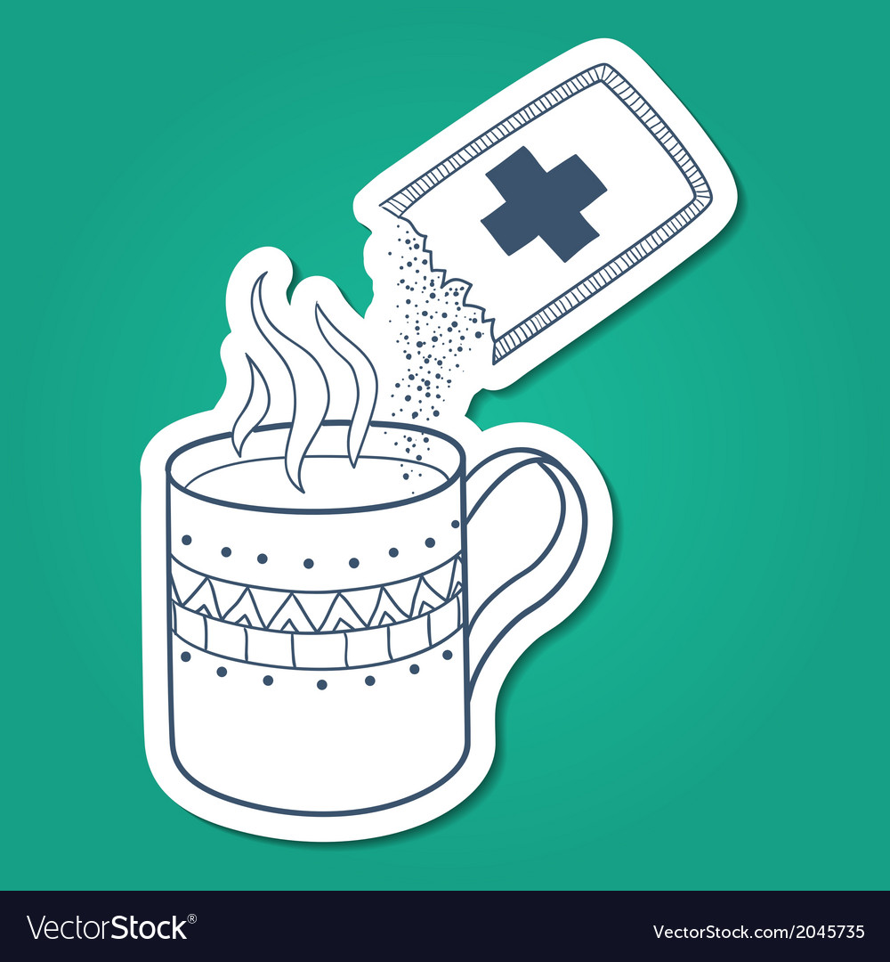 Cough and cold instant hot drink vector | Price: 1 Credit (USD $1)