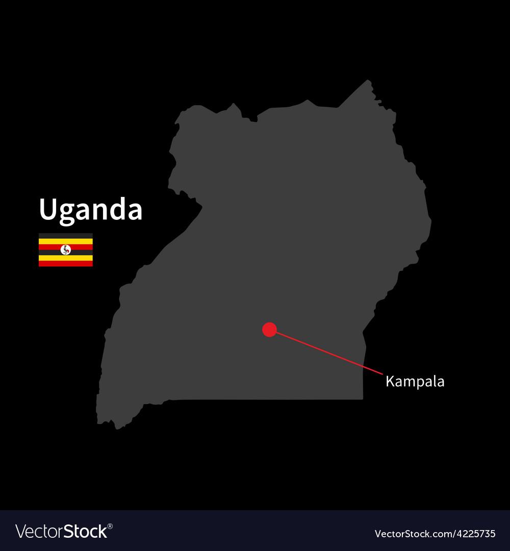 Detailed map of uganda and capital city kampala vector | Price: 1 Credit (USD $1)