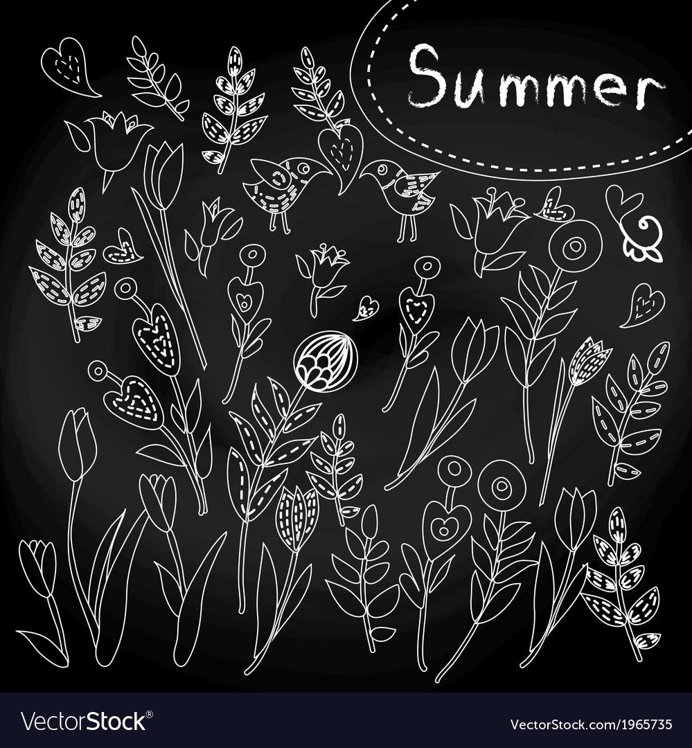 Floral set on chalkboard vector | Price: 1 Credit (USD $1)