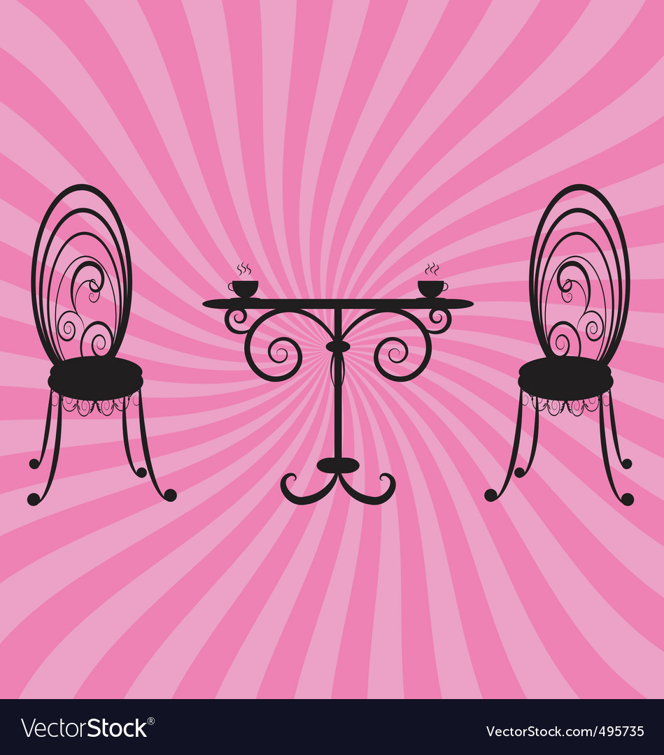 Old retro chairs and table vector | Price: 1 Credit (USD $1)