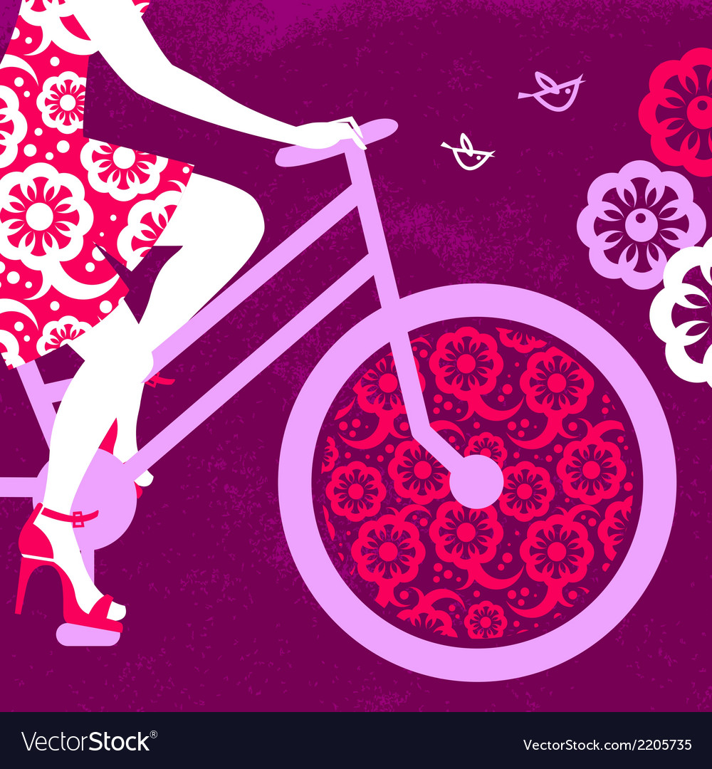 Silhouette of beautiful girl on bicycle vector | Price: 1 Credit (USD $1)