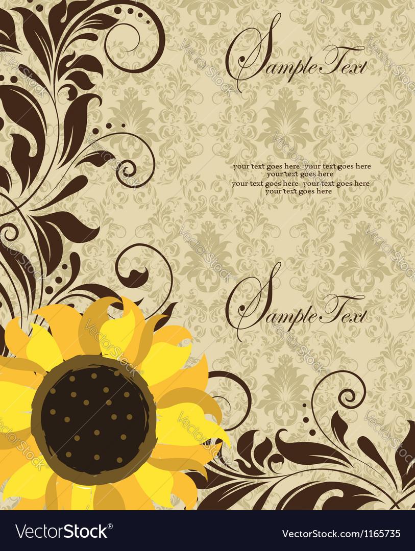 Sunflower wedding invitation vector | Price: 1 Credit (USD $1)