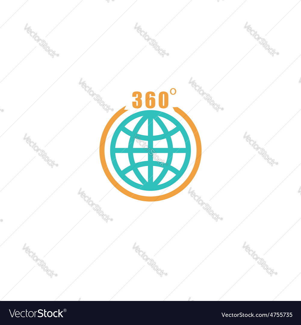 Travel circle mockup logo globe arrow with 360 vector | Price: 1 Credit (USD $1)