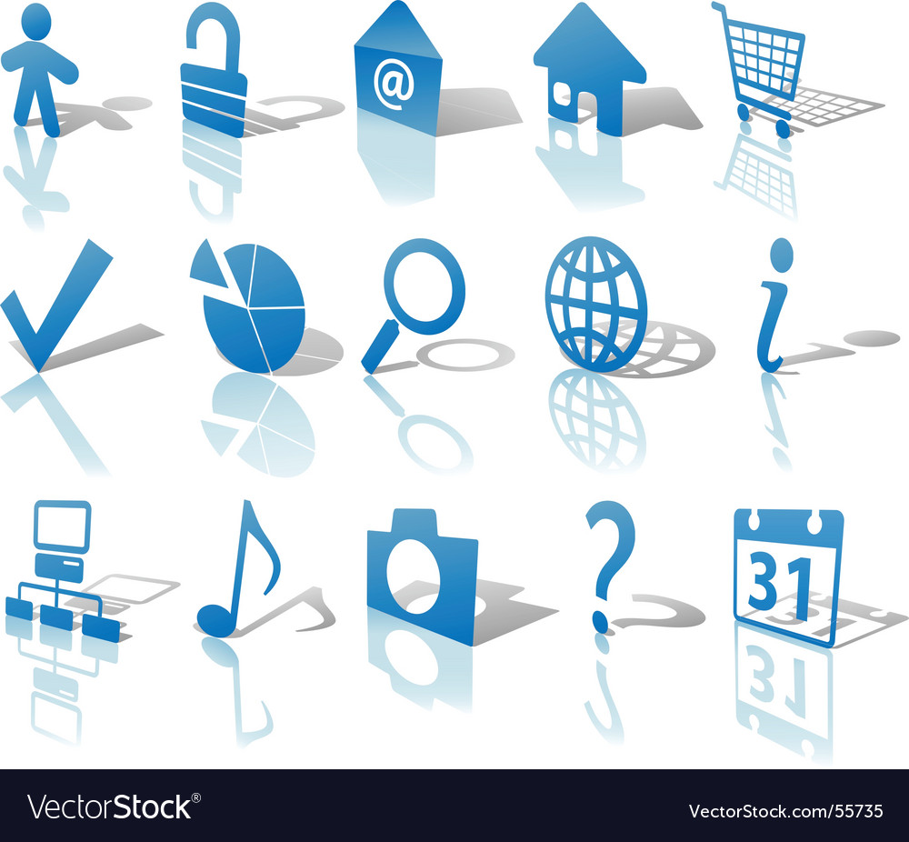 Web blue icons set vector | Price: 1 Credit (USD $1)