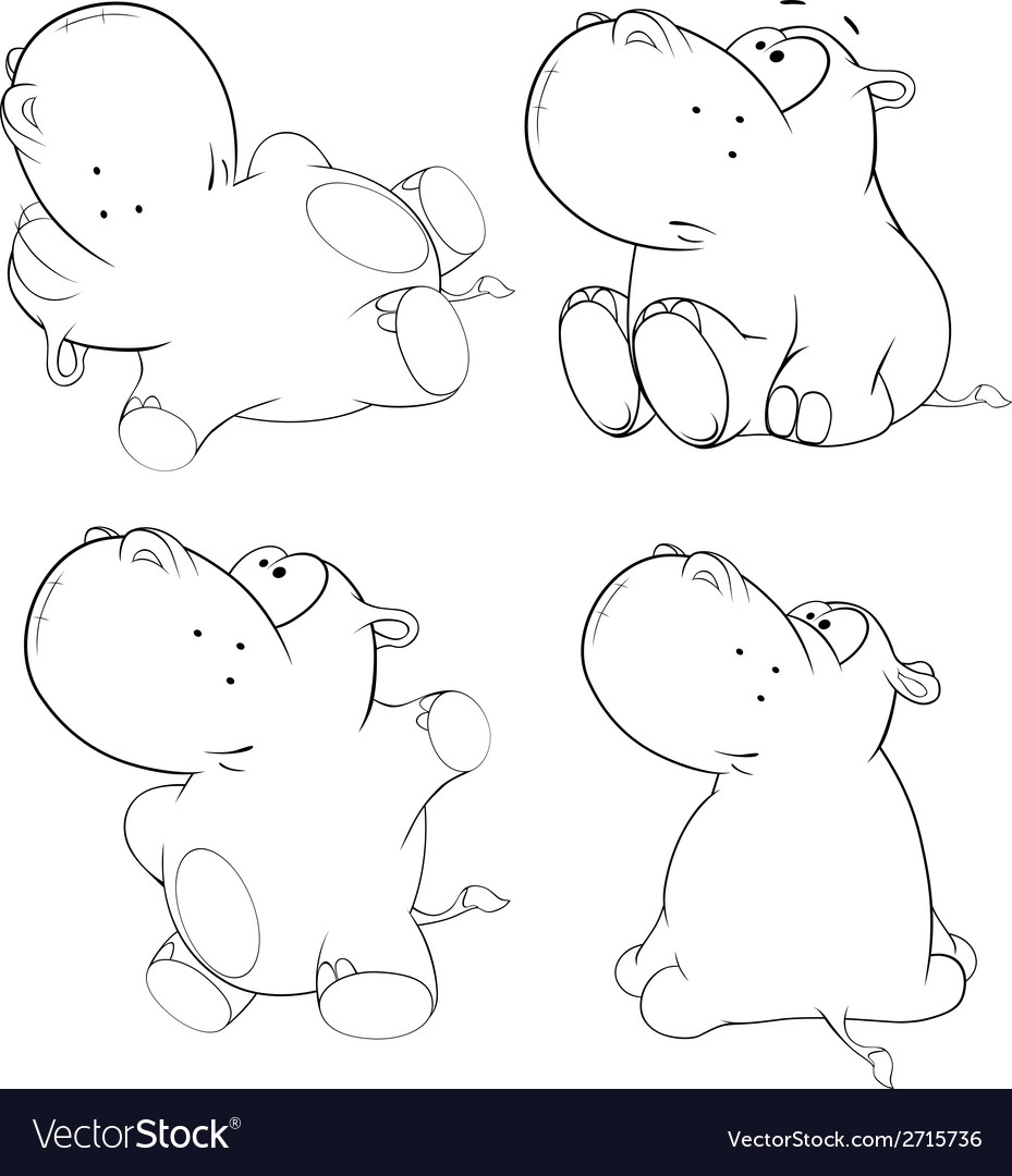 A set of hippopotamuses vector | Price: 1 Credit (USD $1)