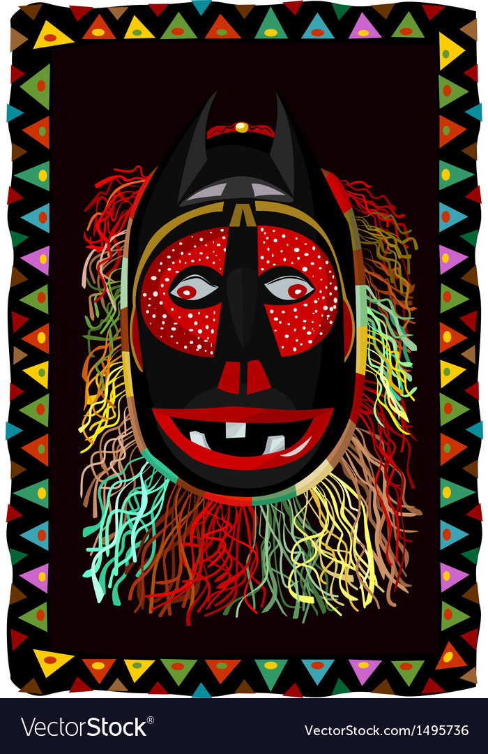 African fringed mask vector | Price: 1 Credit (USD $1)