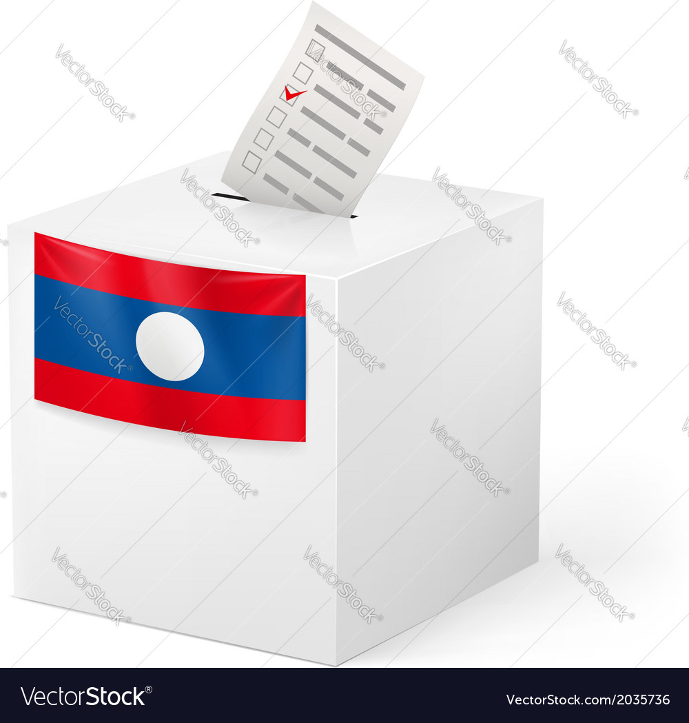 Ballot box with voting paper laos vector | Price: 1 Credit (USD $1)