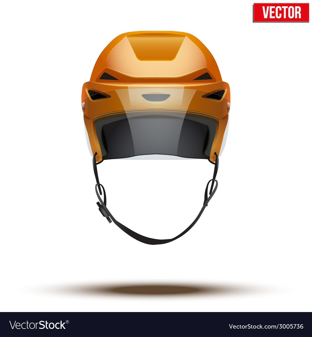 Classic orange ice hockey helmet with glass visor vector | Price: 1 Credit (USD $1)