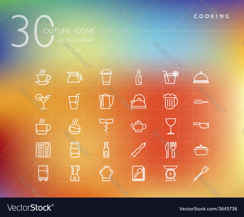 Cooking and food outline icons set vector | Price: 1 Credit (USD $1)