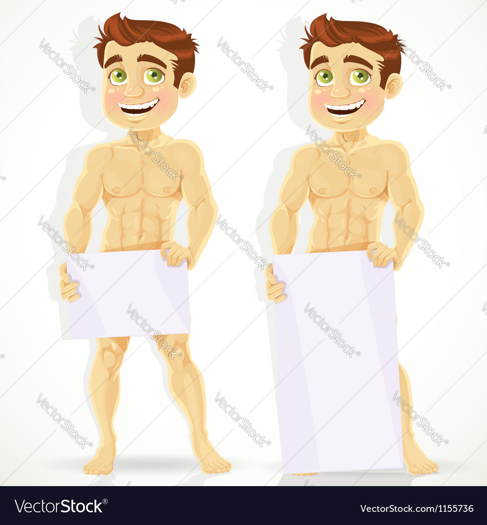 Cute naked man with posters for your message vector | Price: 1 Credit (USD $1)
