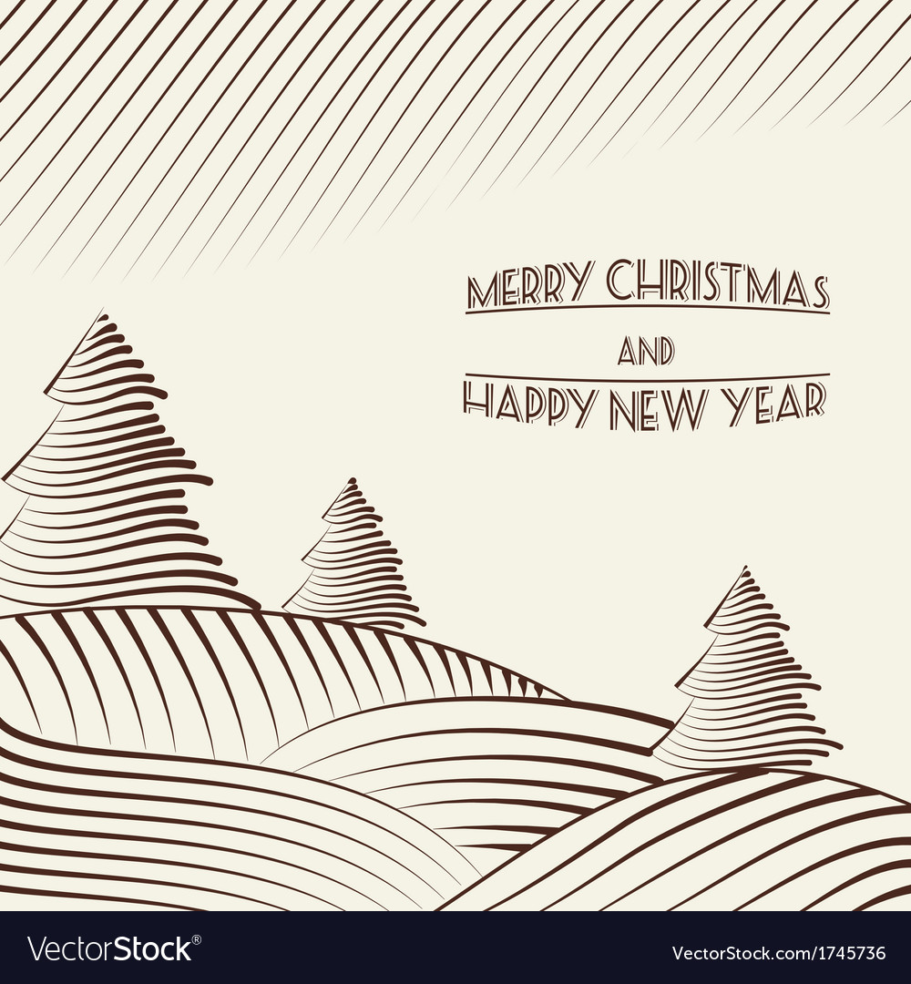 Engraving of christmas trees on the hills vector | Price: 1 Credit (USD $1)