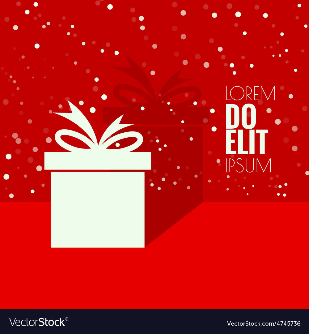 Gift box with a flat shadow vector | Price: 1 Credit (USD $1)