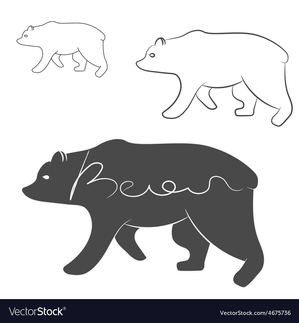 Grizzly bear silhouette shape logo isolated vector | Price: 1 Credit (USD $1)