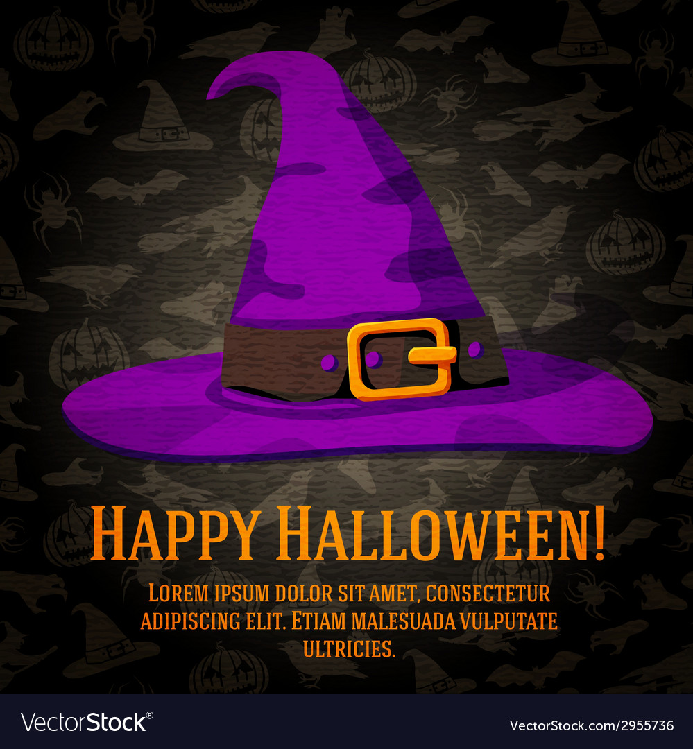 Happy halloween greeting card with hat of the vector | Price: 1 Credit (USD $1)