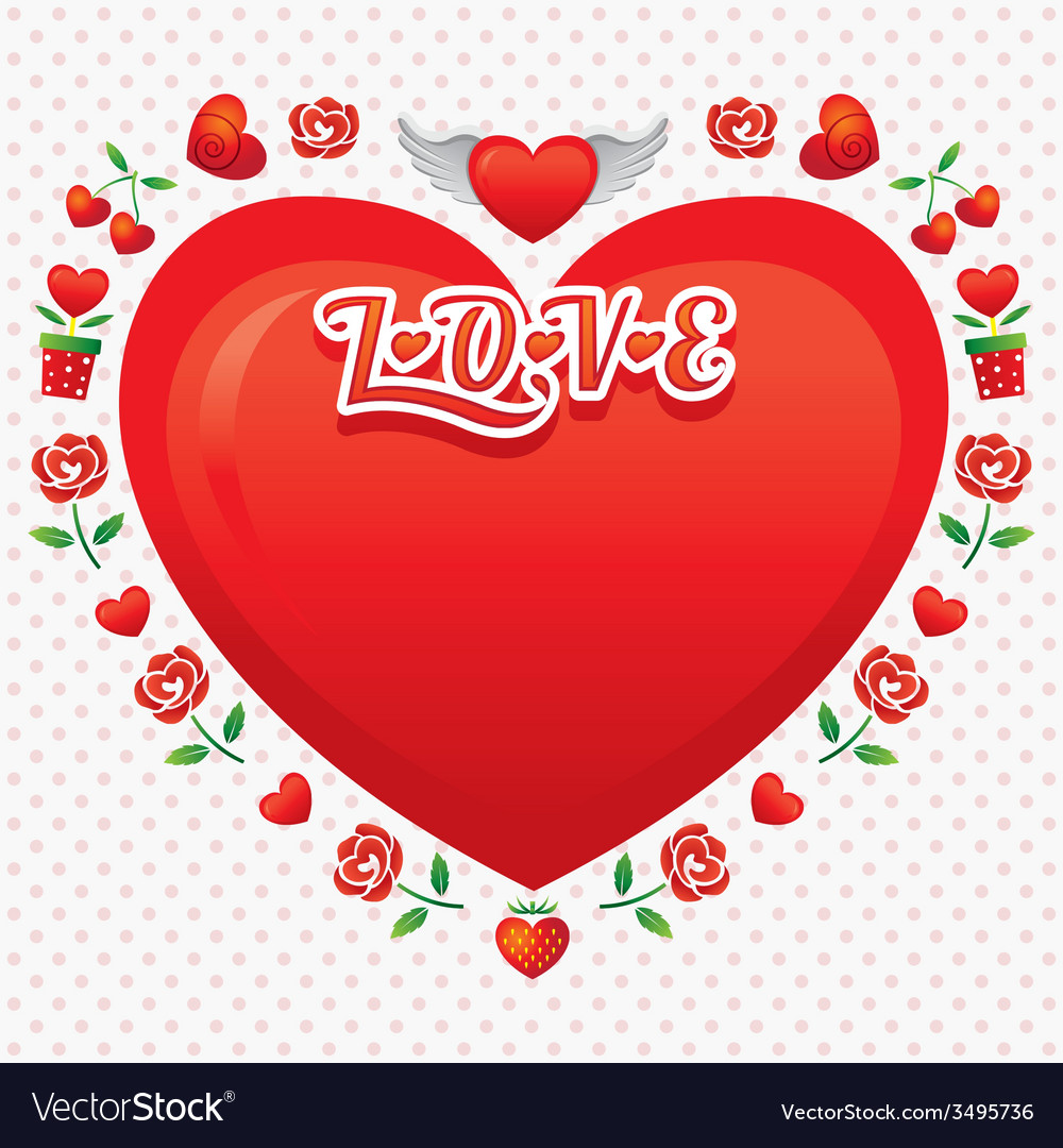 Heart shape frame and border with icons vector | Price: 1 Credit (USD $1)