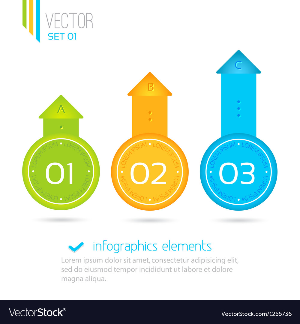 Infographics elements progress icons for three vector | Price: 1 Credit (USD $1)