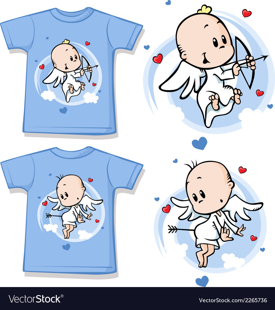 Kid shirt with cute angel printed vector | Price: 1 Credit (USD $1)