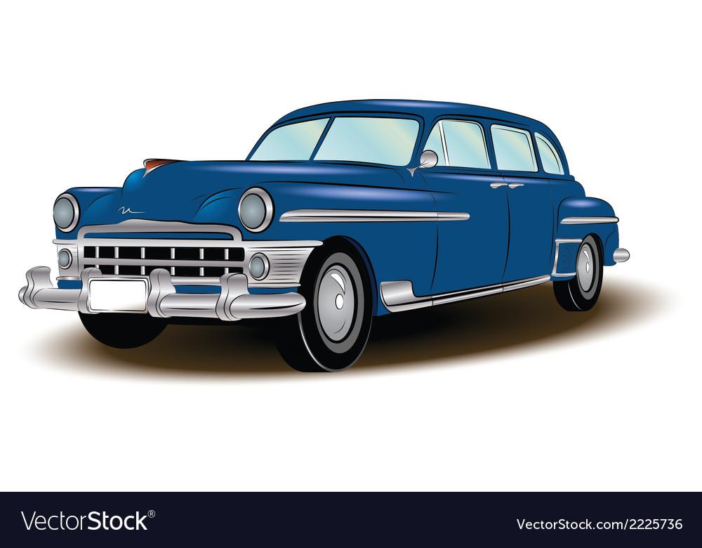 Retro car blue vector | Price: 1 Credit (USD $1)