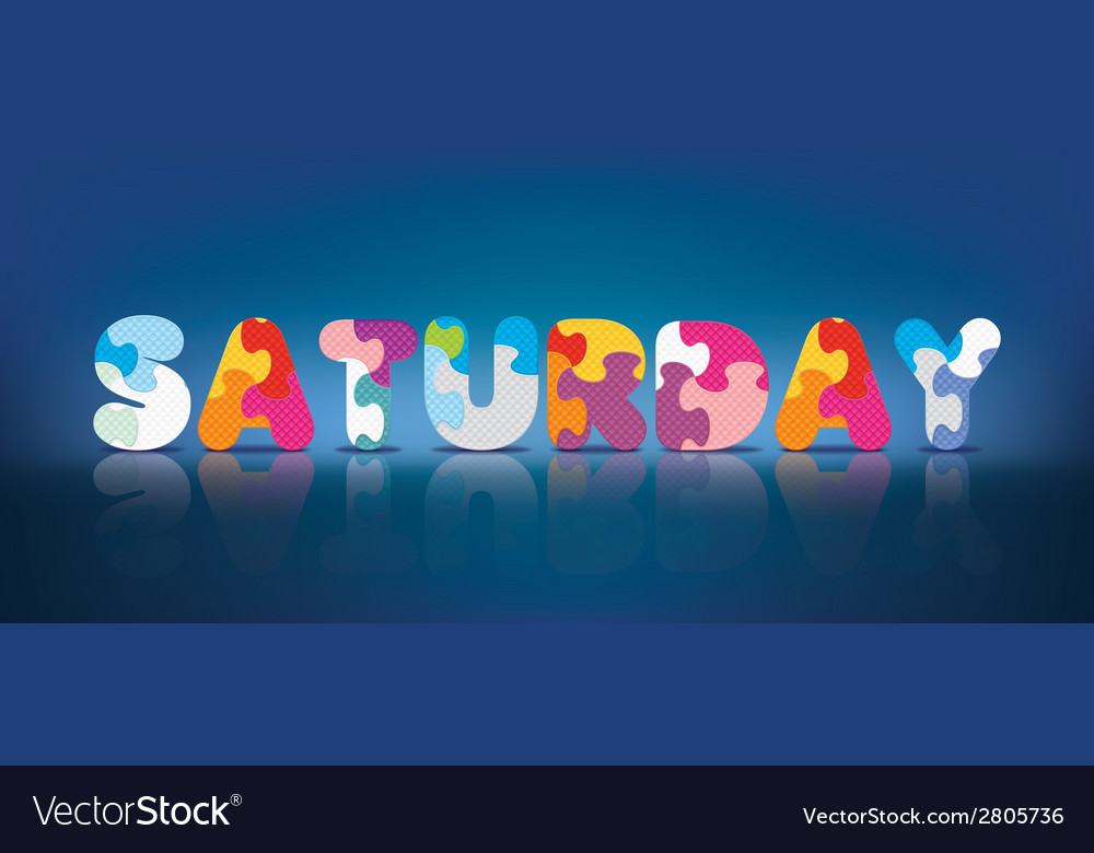 Saturday written with alphabet puzzle vector | Price: 1 Credit (USD $1)