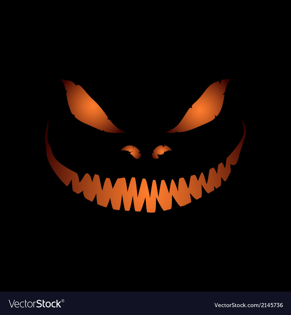 Scary face isolated on black background vector | Price: 1 Credit (USD $1)