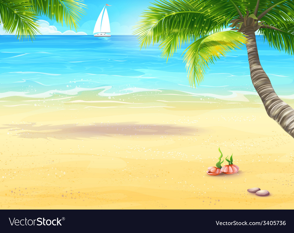 The sea shore with palm trees and seashells vector | Price: 1 Credit (USD $1)
