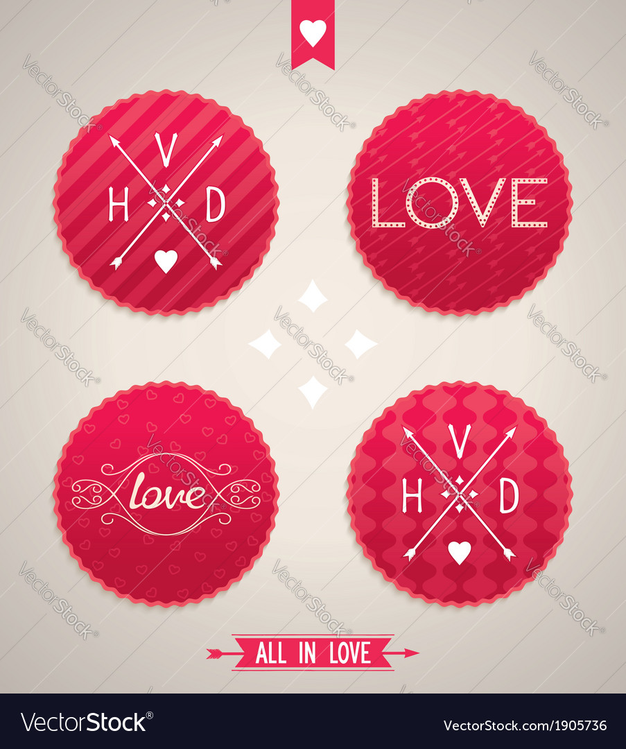Valentines day design elements vector | Price: 1 Credit (USD $1)