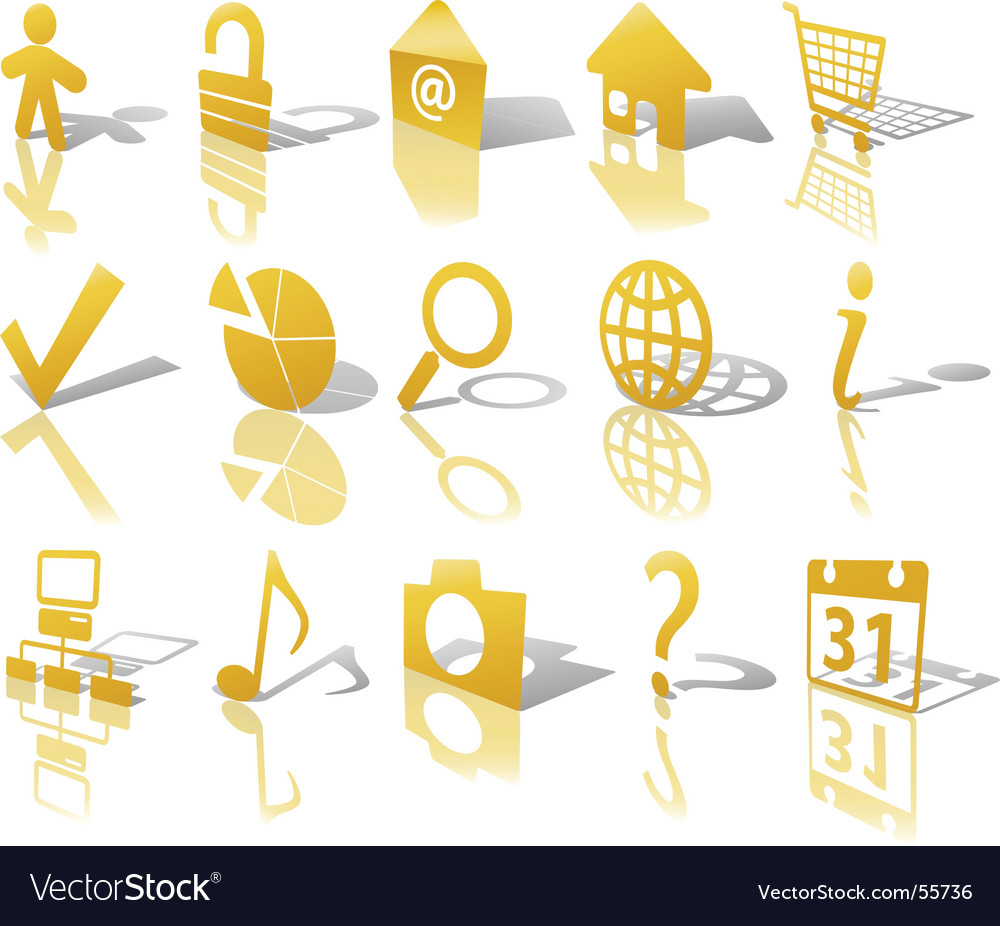 Web gold button icons vector | Price: 1 Credit (USD $1)