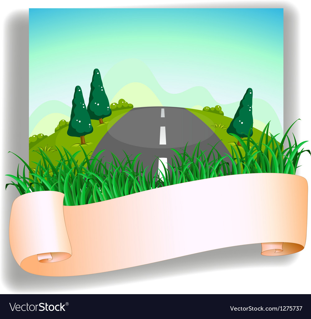 A road at the back of the signage vector | Price: 1 Credit (USD $1)