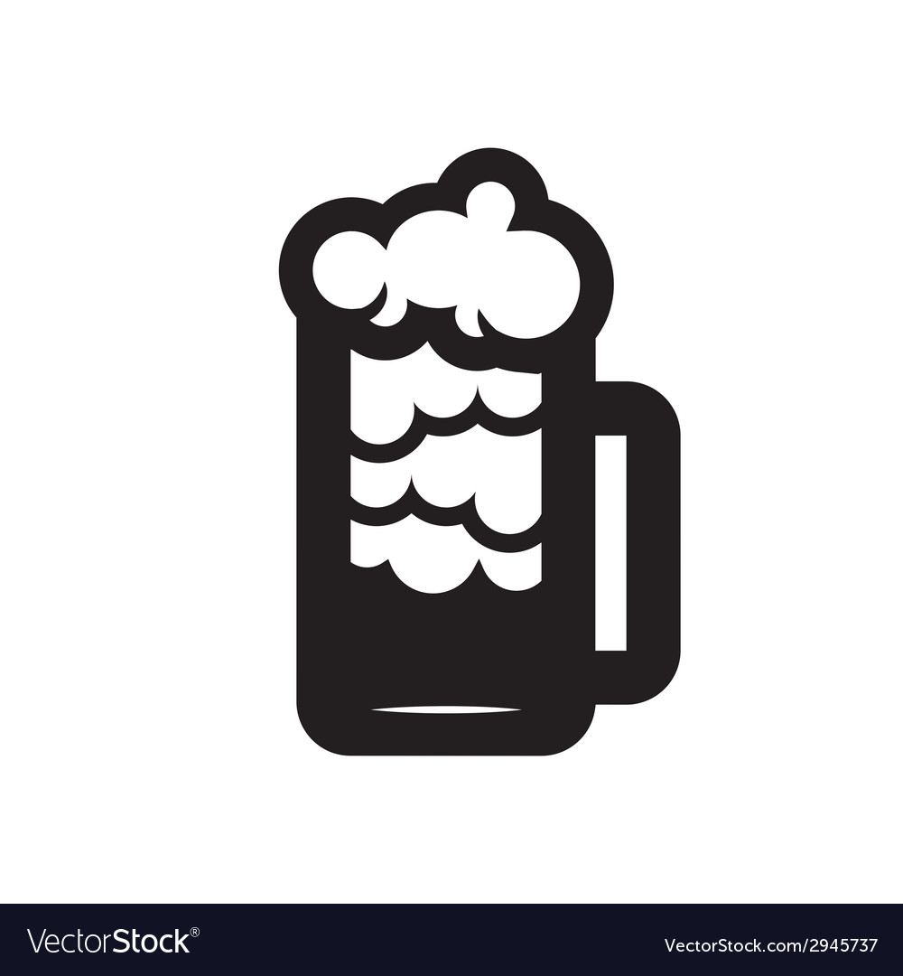 Beer glass black silhouette vector | Price: 1 Credit (USD $1)