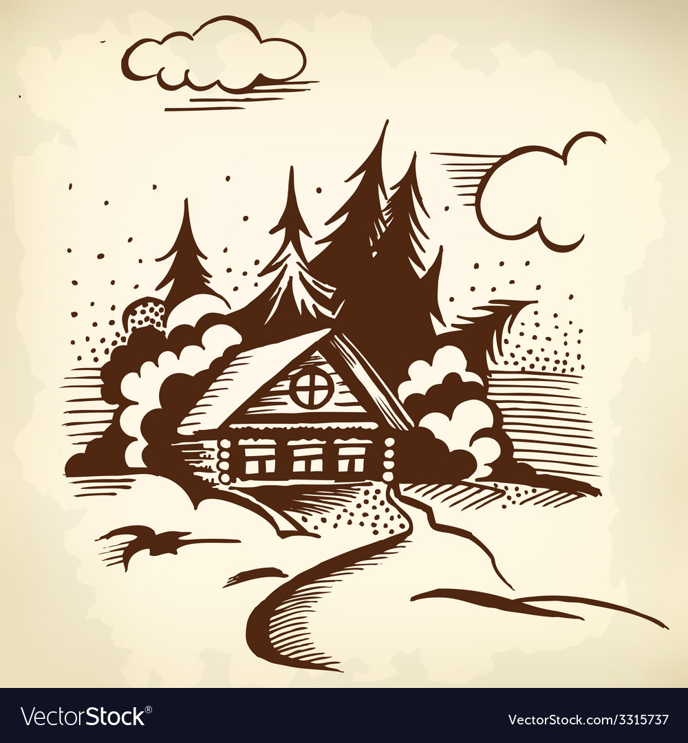 Cabin in the woods vector | Price: 1 Credit (USD $1)