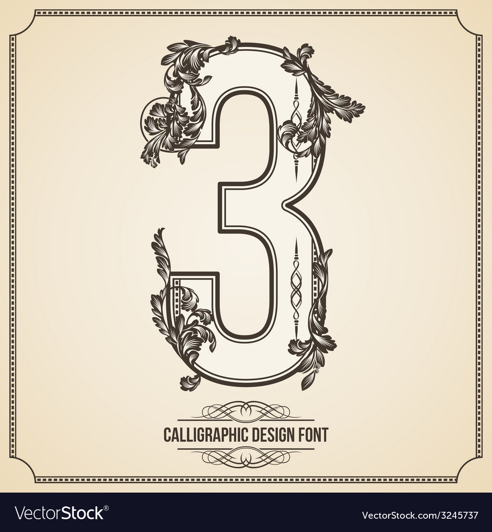 Calligraphic font number 3 vector | Price: 1 Credit (USD $1)