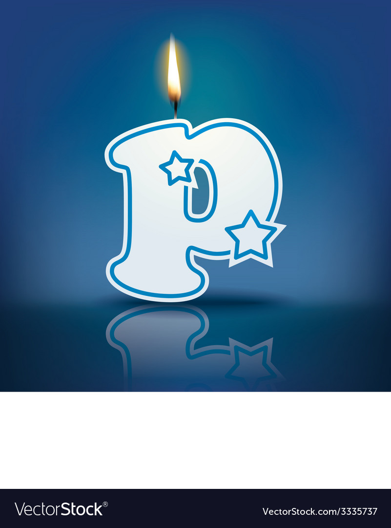 Candle letter p with flame vector | Price: 1 Credit (USD $1)