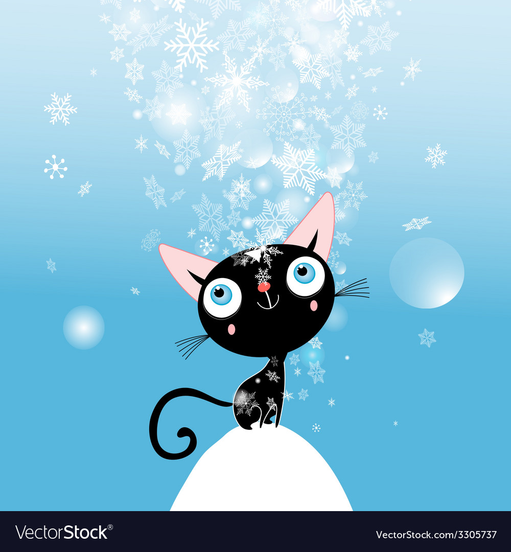 Christmas card with kitten vector | Price: 1 Credit (USD $1)