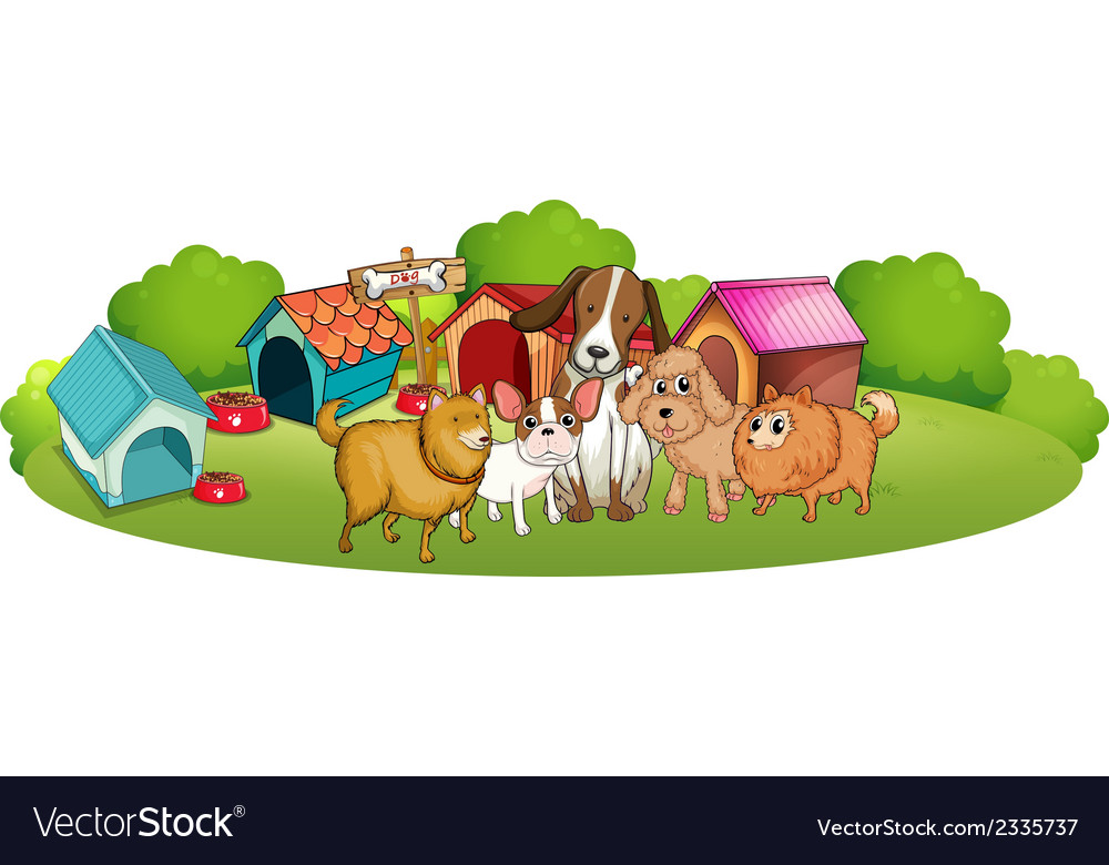 Cute dogs outside the doghouses vector | Price: 3 Credit (USD $3)